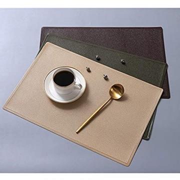 Tischset Leder 6er Sets Platzset Abwischbare Platzdeckchen für Hause Küche Restaurant Hotel (Color : Beige)