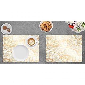 Tischset   Platzset abwaschbar - Goldene Blätter - aus erstklassigem Vinyl (Kunststoff) - 4 Stück - rutschfeste Tischdekoration - Tischunterlage - Tischmatte - Made in Germany