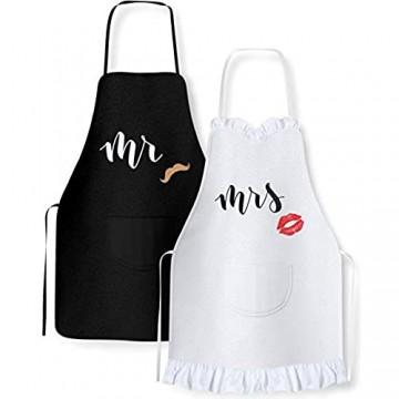 2 Pack Schürze Mr und Mrs Verstellbare Küchenschürze KochschürzeKüche Schürzen für Paare - passende Verlobung Hochzeit Jahrestag Brautparty Geschenk