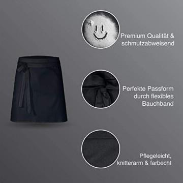 DESERMO 5er Set Premium kurzer Vorbinder 50cm x 80cm (L X B) I Hochwertige Taillen-Schürze für Frau und Mann I Innovative Mischung aus Baumwolle und Polyester | Stoffgewicht 220g/m² (Schwarz)