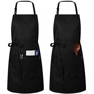 Hemoton 2 Stücke Schürze Kochschürze Küchenschürze Verstellbare Schürze mit 2 Taschen Und Extra Langen Bindungen für Küche Restaurant Café Schwarz 32 * 27 Inch