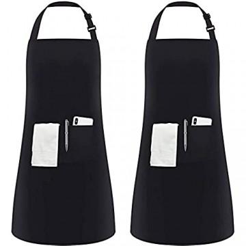 InnoGear 2 Stücke verstellbare Schürze mit 2 Taschen Kochenschürze Küchenschürze für Küche Restaurant café (Schwarz Polyester)