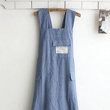 Kochschürze japanischer Stil X-Form Denim Kittel natürliche Baumwolle Schürze mit Halfter und Kreuzverband Lätzchen für Küche und Garten Blau