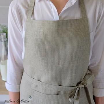Linen & Cotton Lang Schürze Küchenschürze Kochschürze für Frauen Damen Männer VIDO - 100% Leinen (70 x 100cm) Natur/Beige - Latzschürze Backschürze Bistroschürze für Küche Café Bistro Bäckerei