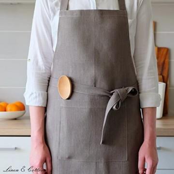 Linen & Cotton Luxus Schürze Küchenschürze Kochschürze Grillschürze Ella 100% Leinen - 70 x 84cm (Grau)