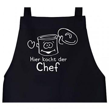 Shirtracer - Schürze mit Motiv - Hier kocht der Chef Kochtopf - Schürze und Kochschürze für Erwachsene
