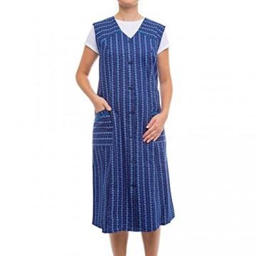 Tobeni Damen Kittelschürze Knopf-Kittel lang in 100% Baumwolle ohne Arm mit Taschen Farbe Design 12 Grösse 50