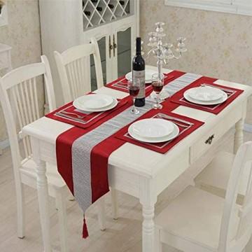 1 klassischer Tischläufer mit Quasten (33 x 180 cm) und vier Platzsets (30 5 x 40 6 cm) für Hochzeit Weihnachten Party Dekoration (rot)