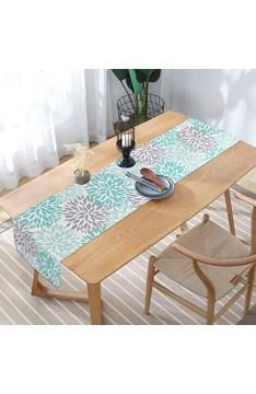 Alishomtll Tischläufer Home Decor Tischdecke Läufer Tischband Kaffeematte rutschfest Dekoration Tischdeko Hochzeit frisch Outdoor Draußen Blume 35 x 180 cm Türkis