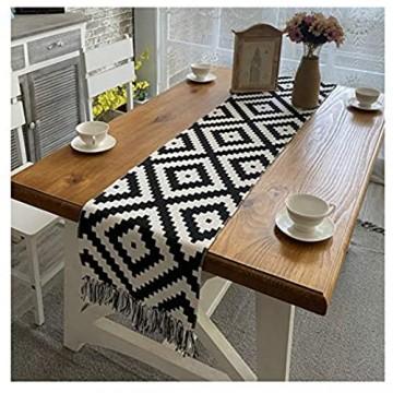 KnBoB Baumwolle Leinen Schwarz Weiß Geometrisches Puzzle Muster mit Quasten Tischläufer für Esszimmer Party Urlaub Dekoration Größe 32x160CM