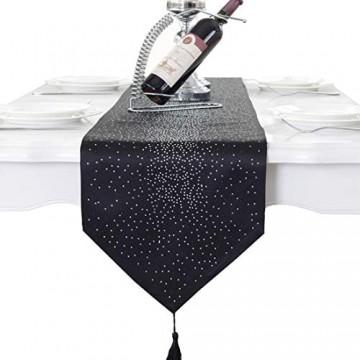 Luxus Diamant hellen Stern schwarzer Damast Seidenquaste Hause dekorative Tischläufer 33cm x 250cm