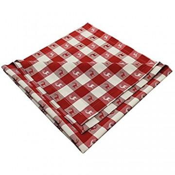 SeGaTeX home fashion Tischläufer Landhaus-Tischdecke Karo in Rot 40 x 160 cm rot-weiß kariert Hirschmotiv für den rustikal-gemütlichen Landhaus-Stil