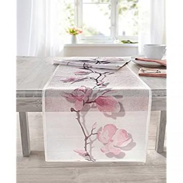 TFH Tischläufer Magnolie transparent rosa weiß Tischdecke Blumen Blüten Frühling Sommer ausgefallen modern Tischwäsche