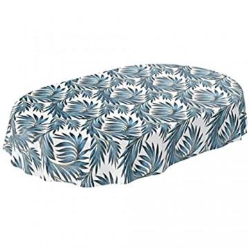 ANRO Tischdecke Wachstuch abwaschbar Wachstuchtischdecke Wachstischdecke Palmenblätter Gold Blau Oval 180x140cm
