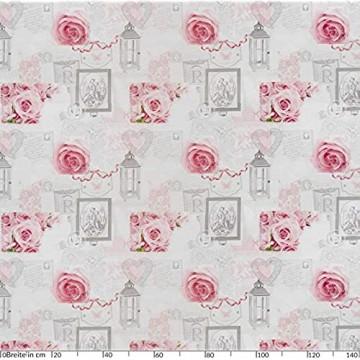 ANRO Wachstuchtischdecke Wachstuch Wachstischdecke Tischdecke abwaschbar Rosen Landhaus Antik Grau 160 x 140cm