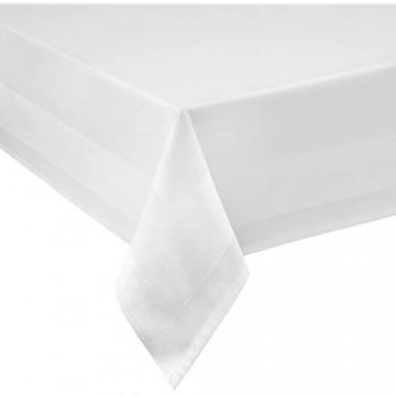 DAMAST Tischdecke ECKIG 100x140 100 x 140 cm Weiss Atlaskante 100% Baumwolle Tischwäsche Tablecloths