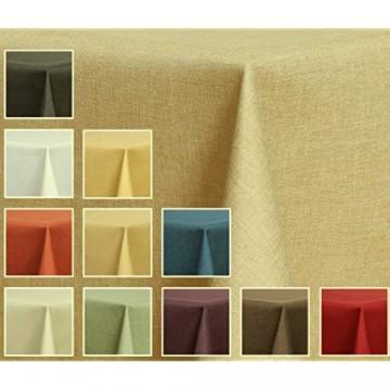 Maltex24 Textil Tischdecke - Leinen Optik - wasserabweisend Rund (Sand 140 cm)