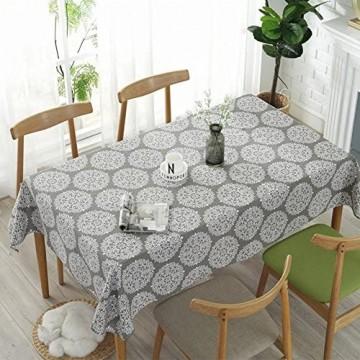meioro Grey Retro Tischdecke Rechteckige Tischdecken Baumwolle Leinen Tischtuch Geeignet für Home Küche Dekoration Tischtuch Tischwäsche Verschiedene Größen(130 x 180 cm)