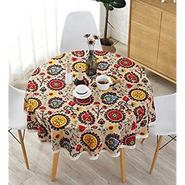Meiosuns Runde Tischdecken Leinen Baumwolle Tischdecke Sun Flower Tischdecke Spitze Tischdecke Mehrzweck Indoor und Outdoor (Durchmesser 120 cm Sonnenblume)