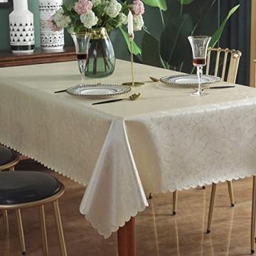 Qualsen Tischdecke Tischdecke Abwaschbar Tischdecke Rechteckige 140 x 200 cm Wasserabweisend Tischtuch Table Cloth Beige