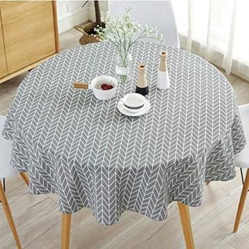 Runde Tischdecke Einfache runde Tischdecke aus Baumwoll-Leinengewebe im nordischen Stil Faltenfest für den Tischde koration Sdurchmesser in der Küche (Grau Durchmesser 120 cm)