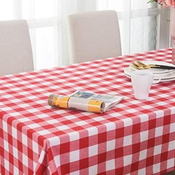 Tischdecke kariert Rot und Weiß – Frühlings-Garten Zuhause rustikal kariert quadratisch Tischdekoration für quadratische und runde Tische 132 x 132 cm