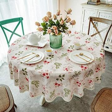 Tischdecke Rund 140cm Abwischbare Pflanzenblume TischwäSche Aus Baumwolle und Leinen FüR Innen und AußEndekoration Tischdecke RosaKirsche