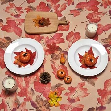 Yastouay Maple Leaf Eckige Tischdecke wasserdichte Herbst Tischdeko Abwischbare Schmutzabweisende Tischtuch Indoor Outdoor Polyester 152x213cm