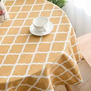 YOUZI Runde Tischdecke gelbe Raute Tischdecke Durchmesser 150cm Küche Esstisch Garten abwischbar wasserdicht