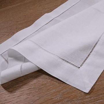 AMPLUCK 12 Stück weiße Hohlsaum-Servietten Leinen-Baumwoll-Mischgewebe 45 7 x 45 7 cm Leiter Stoffservietten weiß