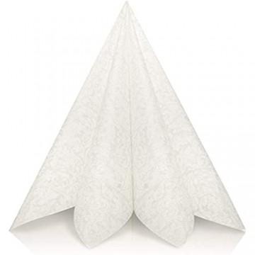 GRUBly Servietten Hochzeit Weiss | Stoffähnlich [50 Stück] | Hochwertige Hochzeitsservietten Weisse Tischdekoration für Geburtstag Feiern Weihnachten | 40x40cm | AIRLAID QUALITÄT