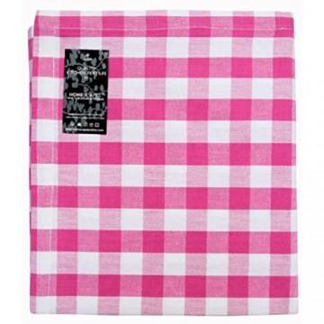 Homescapes Servietten 4er Set karierte Stoffservietten 45 x 45 cm 100% Baumwolle rosa-weiß