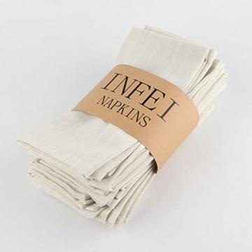 INFEI Servietten weich weiß gestreift Leinen Baumwolle 12 Stück 43 2 x 43 2 cm für Veranstaltungen und Zuhause Beige