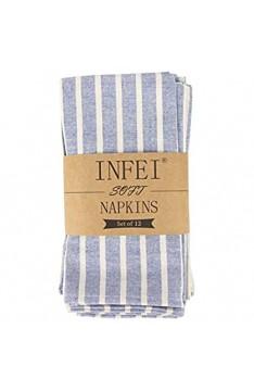 INFEI Weich Breit Gestreift Baumwolle Abendessen Cloth Servietten 12 Stück (17 x 17 Zoll) für Veranstaltungen und den Heimgebrauch (Blau)