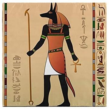 Pac Mac Stoffservietten Vintage-Stil ägyptische Wandbilder Anubis-Servietten ideal für Küchen Hochzeiten Partys Urlaub Thanksgiving und Weihnachten 20x20inx4