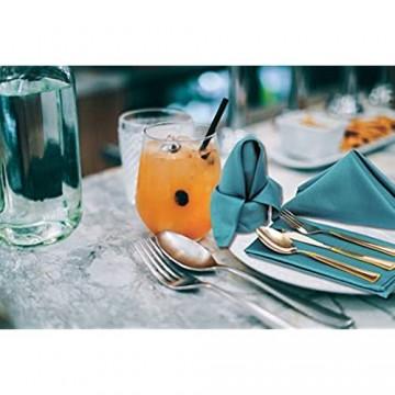 Ruvanti Baumwollservietten 12 Stück Stoffservietten weich und angenehm Deluxe-Hotelqualität Leinen-Servietten – perfekte Tischservietten für Familienessen Hochzeiten 18*18 blaugrün