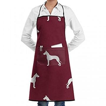 DG1S2A11A Dogge Silhouette Hund RubySchürzen Küche Chef Lätzchen – Dinner is Coming Professional für Grillen/Backen/Kochen für Männer und Frauen