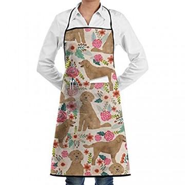 DG1S2A11A Goldene Blumen- und Hundemuster Lichtschürzen Küche Chef Lätzchen – Dinner is Coming Professional für Grillen/Backen/Kochen für Männer und Frauen
