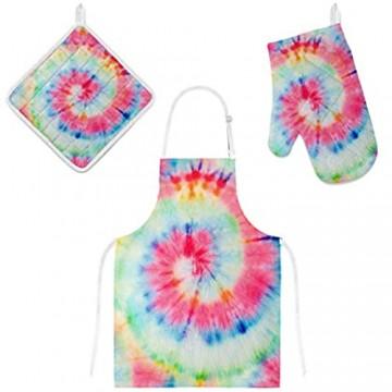 My Daily Küchenschürze mit Taschen Ofenhandschuh und Topflappen Set Batikdruck verstellbare Kochschürze Mikrowellen-Handschuh Topflappen 3-teilig