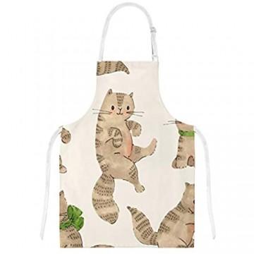 My Daily Küchenschürze mit Taschen Ofenhandschuh und Topflappen Set Katze Cartoon Kätzchen Einstellbare Kochschürze Mikrowellen-Handschuh Topflappen 3 Stück