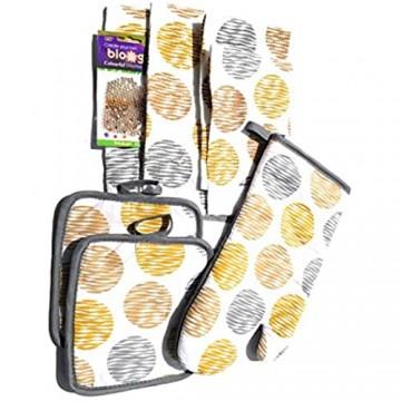 Village Gifts Küchenhandtuch-Set mit modernem Kreismotiv 7-teilig (inkl. 1 Ofenhandschuh 2 Topflappen 2 Geschirrtücher und 2 Geschirrtücher)