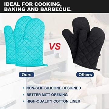 AUBIG - Ofenhandschuhe und Topflappen Set 2 Handschuhe + 2 Isolierpads Backhandschuhe Kochhandschuhe Küche Topfhandschuhe für Kochen Backen Blau