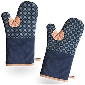 BCS Kitchen Tools extra Lange Ofenhandschuhe zum Backen Kochen und Grillen - Anti-Rutsch Silikon Topfhandschuhe - Hochwertige hitzebeständige Topflappen mit Eingriff in Blau