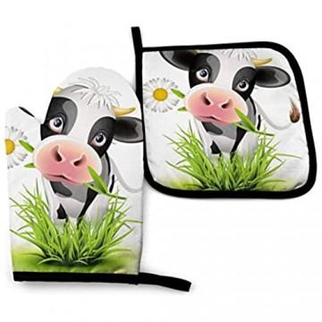 COOL-SHOW Niedliche Kuh-Ofenhandschuhe und Topflappen widerstandsfähige heiße Pads mit Polyester rutschfeste Grillhandschuhe für Küche Kochen Backen
