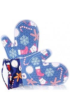 Gesentur Ofenhandschuh Topfhandschuhe rutschfest Hitzebeständige Silikon und Verdickte Baumwolle Backofenhandschuhe 1 Paar (Navy Blue)