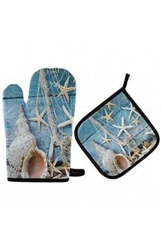 Maritime Beach Seashell Ofenhandschuhe Topflappen-Sets Holzgrüne Ofenhandschuhe Hot Pads Kochen Hitzebeständigkeit Waschbare rutschfeste Oberfläche für Küchengrill