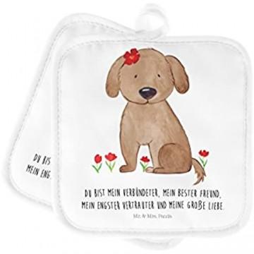 Mr. & Mrs. Panda Ofenhandschuh Handschuhe 2er Set Topflappen Hund Hundedame mit Spruch - Farbe Weiß