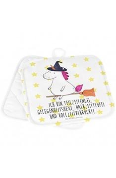 Mr. & Mrs. Panda Topfuntersetzer Ofenhandschuh 2er Set Topflappen Einhorn Hexe mit Spruch - Farbe Weiß