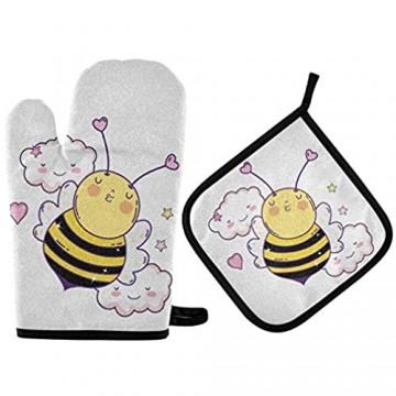 Niedliche Biene Valentines Oven Gloves Ofenhandschuhe und Topflappen Sätze Kawaii Wolken Hitzebeständige heiße Pads Kochhandschuhe Umgang mit Küchenkochgeschirr Backgeschirr BBQ