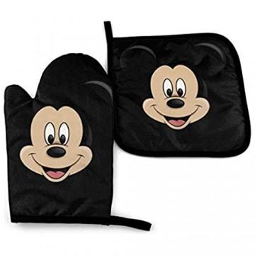 Ofenhandschuhe und Topflappen - Mickey Mouse Head Hitzebeständiger Küchenkochofen Handschuhe und Topflappen Set-8K